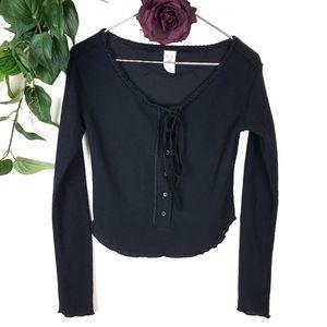 Free People Cropped Black Ribbed Knit Cardigan Sm